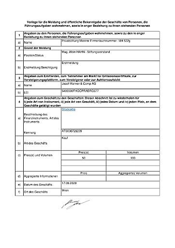 EANS-DD: Josef Manner & Comp. AG / Mitteilung über Eigengeschäfte von Führungskräften gemäß Artikel 19 MAR