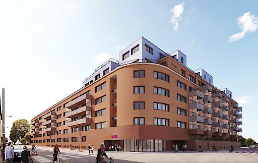 Haupteingang des neuen STUWO Studentenheims Arsenal in der Gänsbachergasse 10 in 1030 Wien