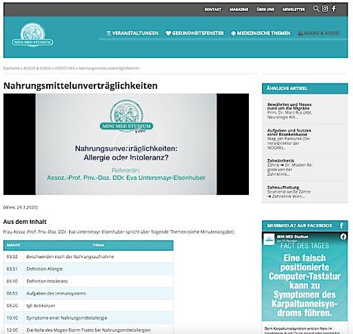 Die Online-Vorträge behandeln eine Vielzahl verschiedener Themen, z. B. Nahrungsmittelunverträglichkeiten.
