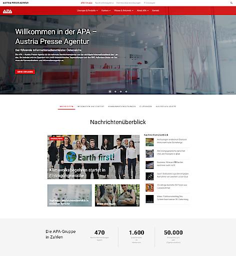 APA-Gruppe mit neuer Website – Screenshot