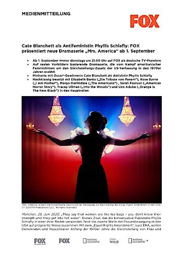 "Cate Blanchett als Antifeministin Phyllis Schlafly: FOX präsentiert neue Dramaserie ""Mrs. America"" ab 1. September (FOTO)"