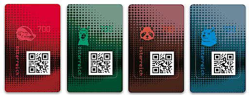Die vier Motive der neuen Crypto stamp 2.0: Honigdachs, Lama, Panda, Doge.