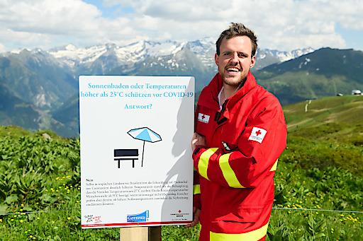 Markus Plaickner, Abteilungsausbildner der Bezirksstelle des Roten Kreuzes Gastein, auf der Schlossalm