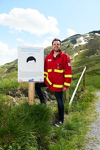 Markus Plaickner, Abteilungsausbildner der Bezirksstelle des Roten Kreuzes Gastein, auf der Schlossalm Mythenweg