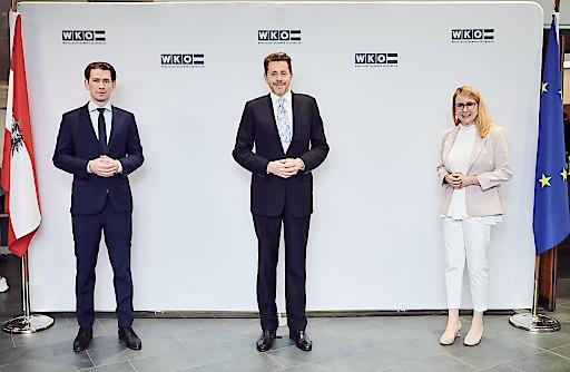 Bundeskanzler Sebastian Kurz, WKÖ-Präsident Harald Mahrer und Bundesministerin für Digitalisierung und Wirtschaftsstandort Margarete Schramböck