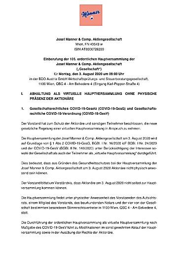 EANS-Hauptversammlung: Josef Manner & Comp. AG / Einberufung zur Hauptversammlung gemäß § 107 Abs. 3 AktG