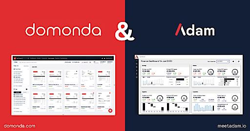 Screenshots der beiden Tools domonda und Adam. Durch die Kooperation der beiden österreichischen Plattformen wird KMU der Weg in die Digitalisierung im Finanzbereich erleichtert.