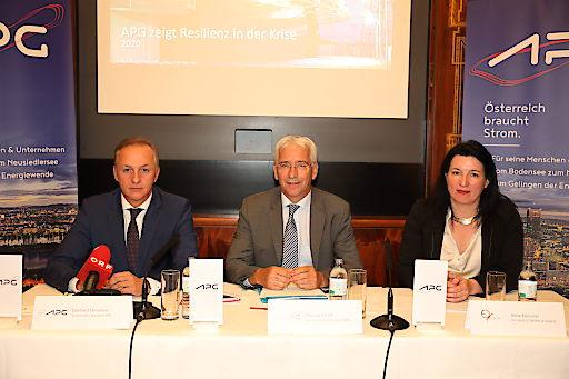 v.l.n.r. Gerhard Christiner (technischer Vorstand APG), Thomas Karall (kaufmännischer Vorstand APG, Anna Kleissner (Vorstand ECONOMICA-Institut)
