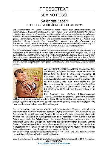 """Tourneeverschiebung: Semino Rossi - """"So ist das Leben"""", die große Jubiläumstour 2021/2022"""