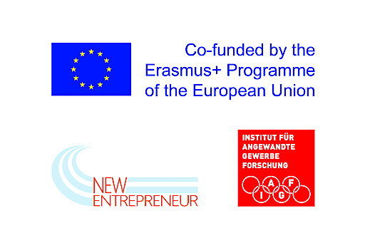 """Projektlogo des EU-Projektes """"New Skills for new Entrepreneurs. Attraction and Qualification of Refugees as Successors"""""""