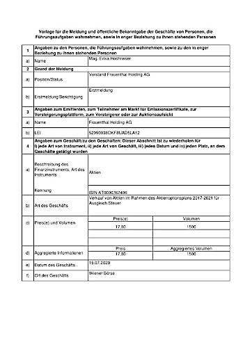 EANS-DD: Frauenthal Holding AG / Mitteilung über Eigengeschäfte von Führungskräften gemäß Artikel 19 MAR