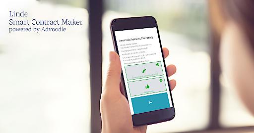 Der Linde Smart Contract Maker ist ab sofort exklusiv bei Linde erhältlich. Das intelligente Tool, das vom Legal-Tech Startup Advoodle entwickelt und exklusiv vom Linde Verlag angeboten wird, unterstützt bei der automatisierten Erstellung von Verträgen, bietet einen virtuellen Informationsaustausch mit allen Parteien und ermöglicht die sichere, elektronische Signierung der Verträge.