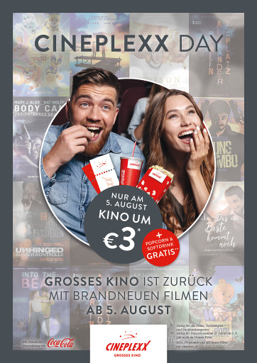 Cineplexx Day am 5. August: GROSSES KINO zur Wiedereröffnung