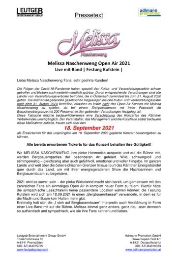 Konzertverschiebung aufgrund von COVID-19: Melissa Naschenweng Open Air in Kufstein 2021