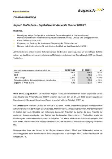 EANS-News: Kapsch TrafficCom AG / Ergebnisse für das erste Quartal 2020/21.