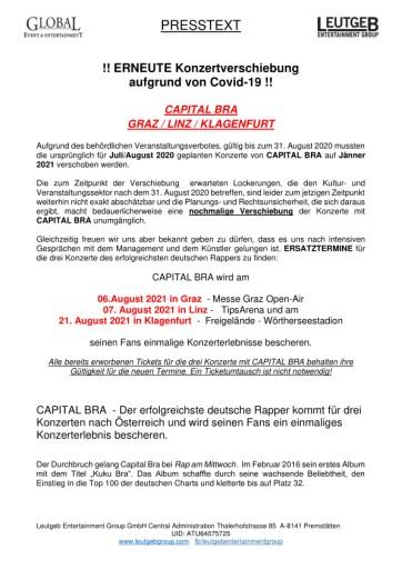ERNEUTE Konzertverschiebung aufgrund von Covid-19! CAPITAL BRA | GRAZ | LINZ | KLAGENFURT