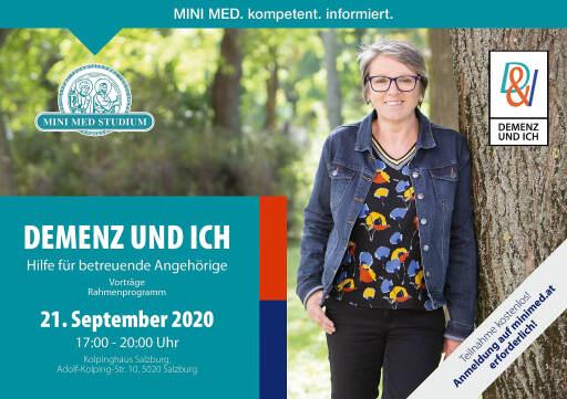 """Einladung zum Vortragsabend """"DEMENZ UND ICH"""" am 21. September 2020."""