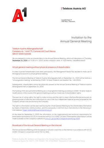 EANS-General Meeting: Telekom Austria AG / Invitation to the General Meeting according to art. 107 para. 3 Companies Act