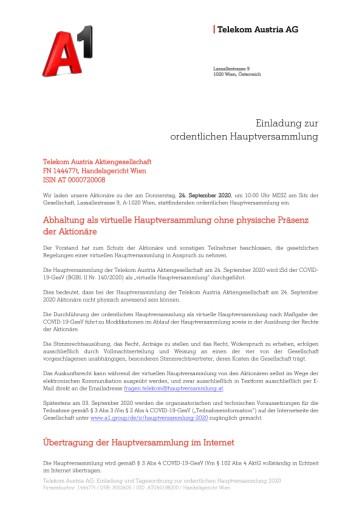 EANS-Hauptversammlung: Telekom Austria AG / Einberufung zur Hauptversammlung gemäß § 107 Abs. 3 AktG