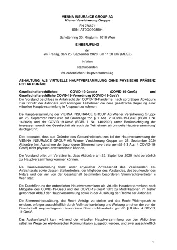 EANS-Hauptversammlung: Vienna Insurance Group AG Wiener Versicherung Gruppe / Einberufung zur Hauptversammlung gemäß § 107 Abs. 3 AktG