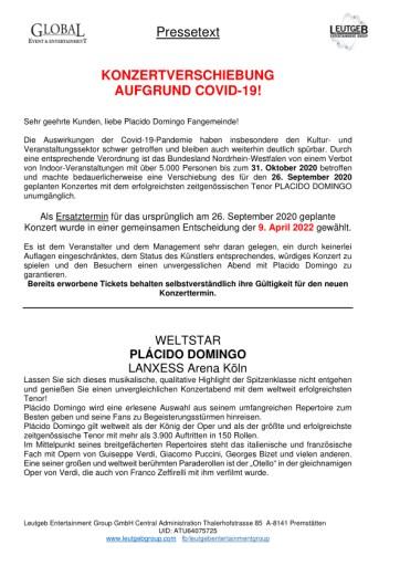 KONZERTVERSCHIEBUNG von PLACIDO DOMINGO in Köln aufgrund von COVID-19!