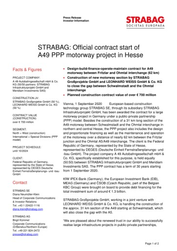 EANS-News: Strabag: Official contract start of A49 PPP motorway project in Hesse