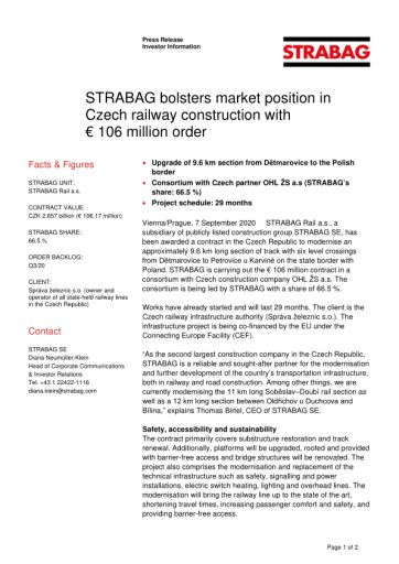 EANS-News: Strabag bolsters market position in Czech railway construction with € 106 million order