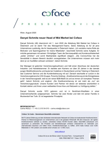 Danyel Schmitz neuer Head of Mid Market bei Coface Österreich