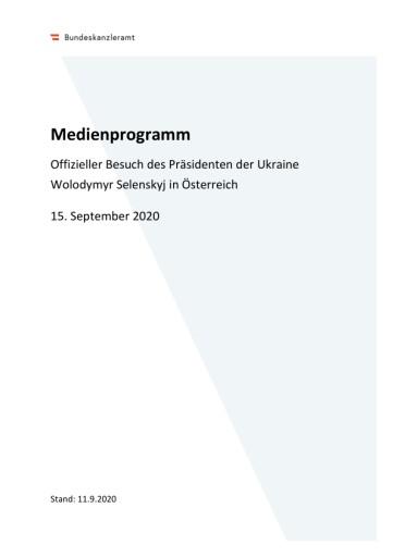 AVISO: Offizieller Besuch des Präsidenten der Ukraine Wolodymyr Selenskyj in Österreich, 15. September2020