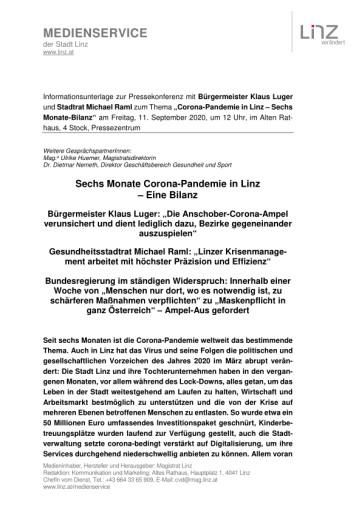 Sechs Monate Corona-Pandemie in Linz – Eine Bilanz