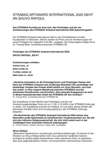 STRABAG ARTAWARD INTERNATIONAL 2020 GEHT AN SHUVO RAFIQUL