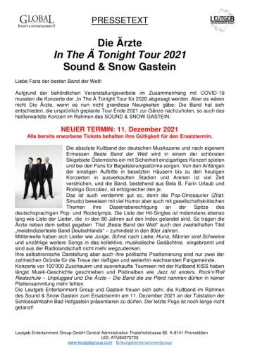 Konzertverschiebung: DIE ÄRZTE in Bad Hofgastein am 11.12.2021