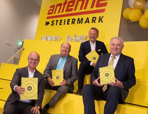 Styria Vorstand Markus Mair, Antenne Gründungsgeschäftsführer Alfred Grinschgl, Antenne Geschäftsführer Gottfried Bichler, Landeshauptmann Hermann Schützenhöfer