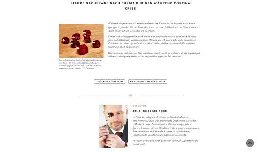 Screenshot Webseite THE NATURAL GEM