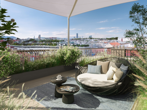 Durchdachte Freiflächen in den ruhigen Innenhof bieten viel Raum. Die Dachterrassen garantieren einen charmanter Ausblick.