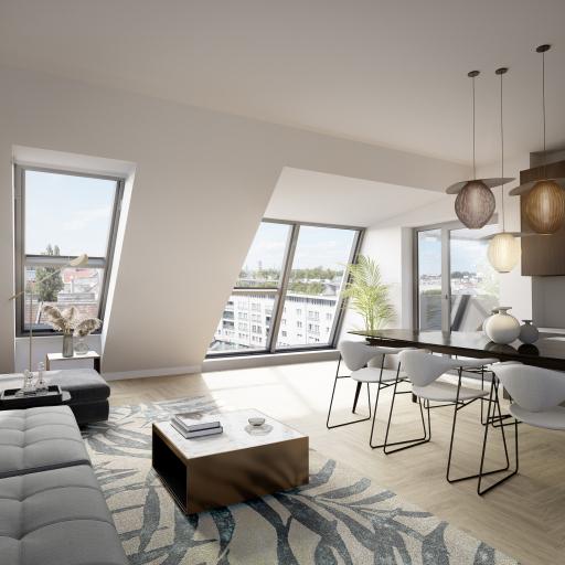 26 Wohnungen (1-4 Zimmer) in Top-Lage: innen mit Alt-Wien-Türen und luxuriösem Badezimmer, außen mit großzügigen Balkonen oder Terrassen.