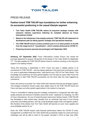 Fashion brand TOM TAILOR lays foundations for further enhancing its successful positioning in the casual lifestyle segment