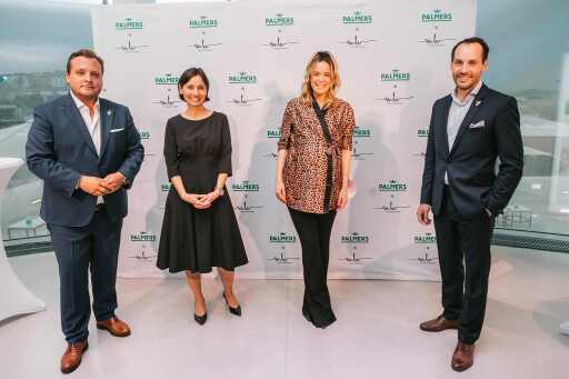 PALMERS-Vorstand Luca Wieser, Designerin Marina Hoermanseder und Sebastian Hörmann, PALMERS-Director Product & SCM, beim Launch-Event am 23.09.2020