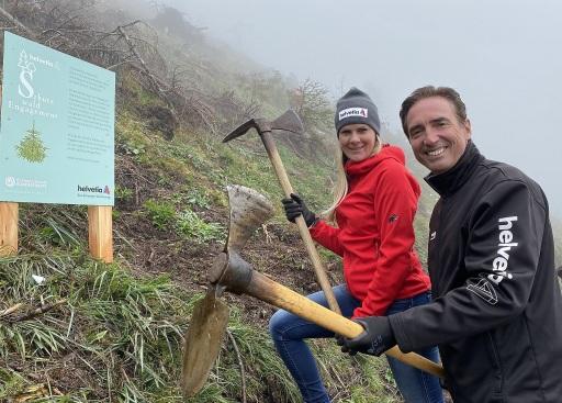 Niki Hosp und Werner Panhauser bei der Schutzwaldaufforstung in Saalfelden