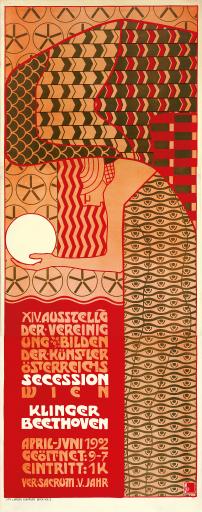 JUGEND ENTDECKT WIEN 1900 – POWERED BY AK WIEN Alfred Roller (Brünn 1864 – 1935 Wien), Plakat zur XIV. Ausstellung der Wiener Secession, 1902, Lithographie und Druck: Albert Berger, Wien VIII, Farblithographie auf Papier, 203,8 x 80,3 cm, Leopold Museum, Wien © Leopold Museum, Wien/Manfred Thumberger