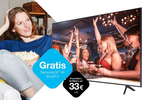Ab 30. September 2020 erhalten Kunden, die einen neuen unlimitierten PowerNet L 5G-Internetvertrag ab 19 Euro pro Monat abschließen, zusätzlich zum Router einen 50 Zoll 4K Smart-TV von Samsung um 0 Euro. Mehr auf www.drei.at/fernseher.