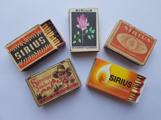 Die Sirius Zündholzer der vergangenen 100 Jahre // © SIRIUS Match Austria GmbH
