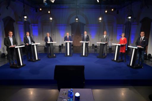 Michael Ludwig (SPÖ), Dominik Nepp (FPÖ), Birgit Hebein (Die Grünen), Gernot Blümel (ÖVP), Christoph Wiederkehr (NEOS) und Heinz-Christian Strache (Team HC Strache)