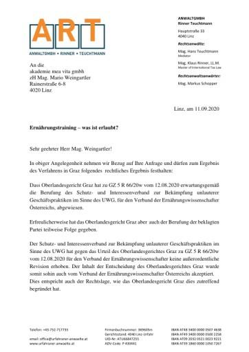 Vitalakademie von OLG Graz bestätigt