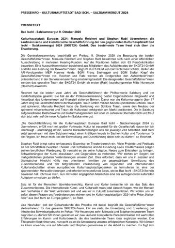 Reichert und Rabl übernehmen die Geschäftsführung der neu gegründeten Kulturhauptstadt Bad Ischl - Salzkammergut 2024 GmbH