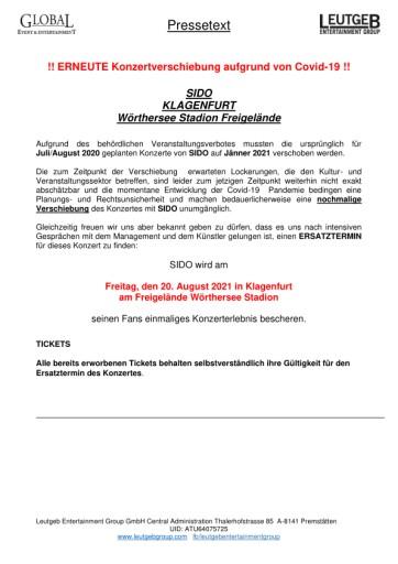 SIDO KLAGENFURT - erneute Konzertverschiebung aufgrund von Covid-19