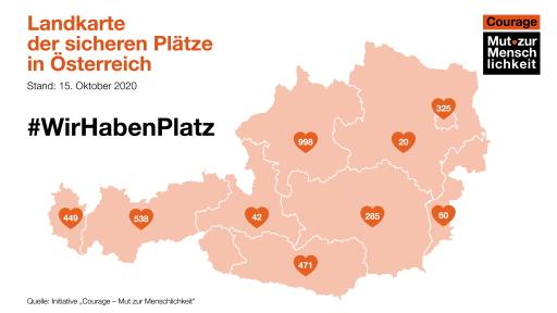 """Landkarte der """"sicheren Plätze"""": Mindestens 3.188 sichere Plätze gibt es in Österreich, um Menschen aus den griechischen Lagern zu retten."""