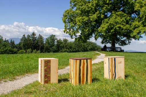 Die Urnenmodelle von Edelzweig. Die vom eigenen Baum oder aus einer Lieblingsregion stammenden Äste werden entweder quer oder längs aufgetrennt und so in die Urne mit eingebaut.