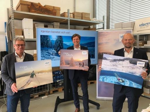 Winter PK Kärnten: Christopher Gruber, Josef Petrisch und Christian Kresse präsentieren die Maßnahmen für einen sicheren und entspannten Winterurlaub in Kärnten.
