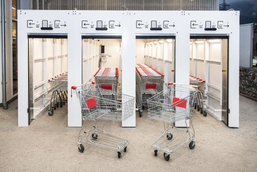 Ersteinsatz des seCUBE für Einkaufswägen in Zirl.